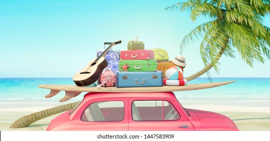 Red Car with luggage ready for summer vacation 3D Render 3D illustration