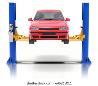 Red car on the car lift on white reflective background - 3D illustration