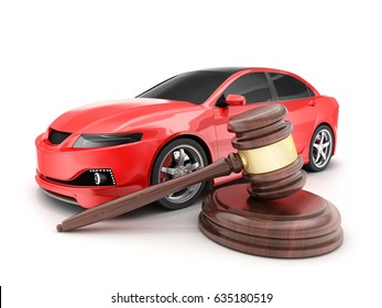 Red car on white background and auction hammer. 3d illustration