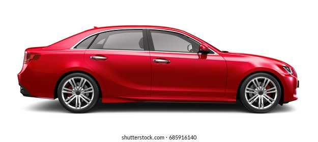 Red car on white background - side view (3D render)