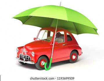 Red car under umbrella. 3D illustration