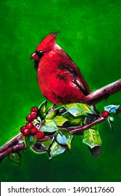 Red cardinal bird on a green background. Oil painting.