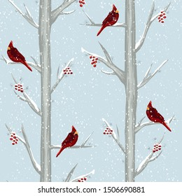 Red cardinal bird in winter forest seamless pattern. Hand drawn illustration Christmas holiday background. Birds sitting on snowy trees with Holly berries. For gift wrap, Christmas decoration, fabric.