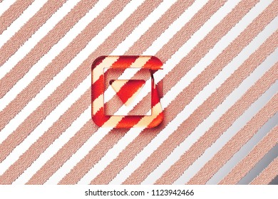 Red Caret Down in Square Icon on the Gray Stripe Pattern. 3D Illustration of Red Arrow, Caret, Down, Pointer, Select, Selector Icon Set With Stripes Gray Background.