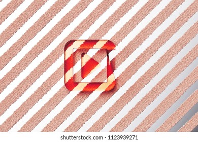 Red Caret Right in Square Icon on the Gray Stripe Pattern. 3D Illustration of Red Arrow, Audio, Caret, Next, Play, Player, Right Icon Set With Stripes Gray Background.