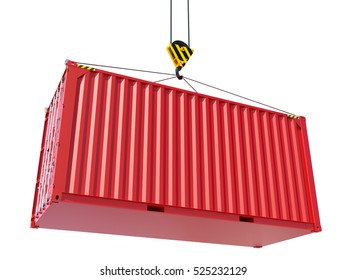 Red cargo container hoisted by hook, isolated on white. 3D rendering