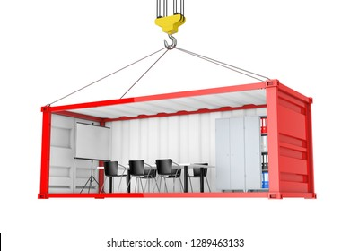 Red Cargo Shipping Container with Removed Side Wall Converted into an Office During Transportation with Crane Hook on a white background. 3d Rendering