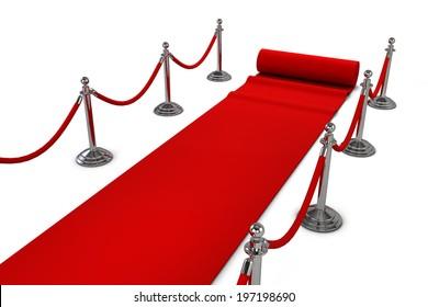 Red carpet. 3d illustration isolated on white background