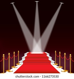 Red carpet for celebrities, concept of success and triumph.