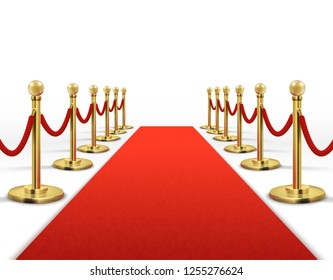 Red carpet for celebrity with gold rope barrier. Success, prestige and hollywood event concept