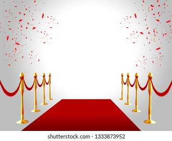 red carpet ceremonial vip event or head realistic image with gold barriers. 3D rendering.