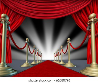 Red carpet curtains Hollywood premier grand opening movie star