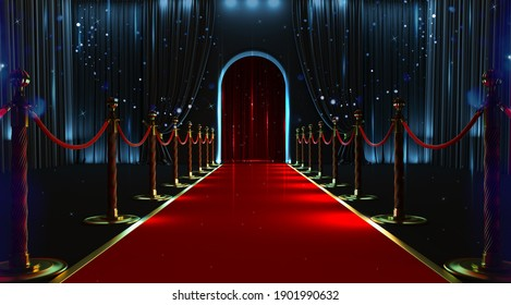 Red carpet entrance with barriers and velvet ropes. 3D render
