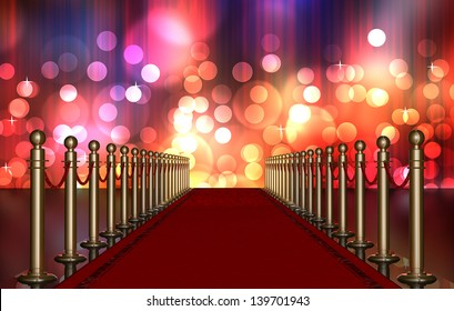 red carpet entrance with the stanchions and the ropes. Multi Colored Light Burst over curtain