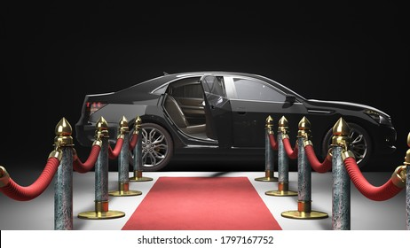 red carpet for event from camera to lux car 3d render on darck background