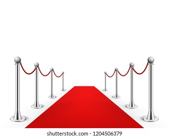 Red carpet event silver barriers background realistic illustration. Red carpet luxury entrance celebrity event presentation.