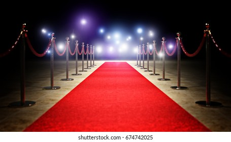 red carpet and golden barrier 3d rendering image
