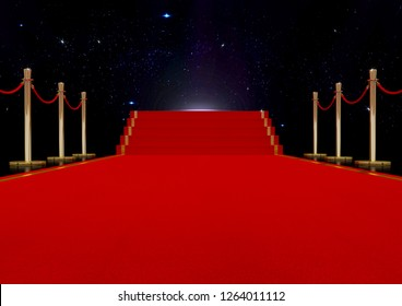 Red carpet with golden barrier and ropes. Stairs in the end. 3d illustration