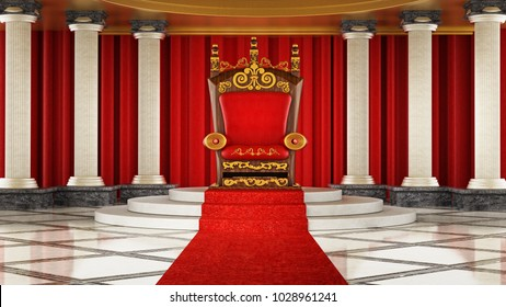 Red carpet leading to the luxurious throne. 3D illustration.