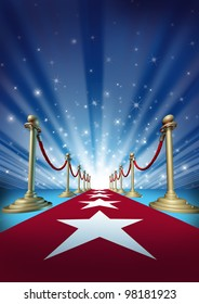 Red carpet to the movie stars with an entertainment theater design background with gold roped barriers and radiating spot lights with shiny sparkles as an important event with cinematic fun.