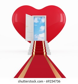 red carpet on a stair in front of an opened door in a heart -rendering