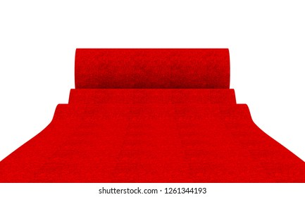 red carpet on white background 3d rendering image