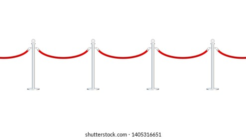 Red carpet with red ropes on golden stanchions. Exclusive event, movie premiere, gala, ceremony, awards concept. stock illustration.