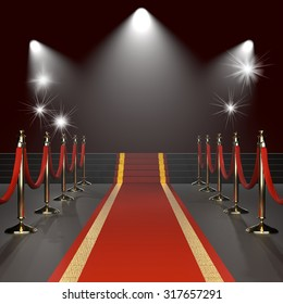 Red carpet with red ropes on golden stanchions. Exclusive event, movie premiere, gala, ceremony concept. Black background with lights. Blank template illustration with space for an object, logo, text.