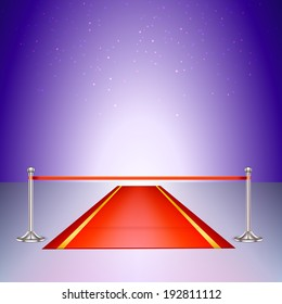 Red carpet with a scarlet ribbon. Colorful template for your presentations