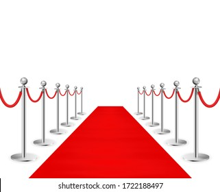 Red carpet and silvery barriers realistic isolated on transparent background. Illustration