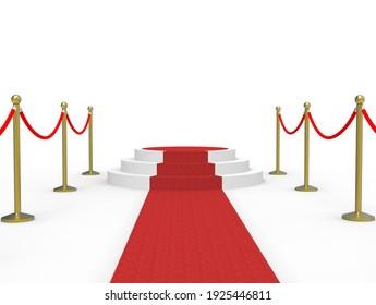 Red carpet stage - 3D illustration