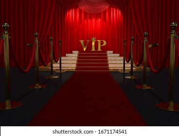 Red carpet, staircase and golden ropes Concept of success and triumph. Illustration 3D.