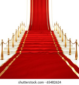 Red carpet to the stairs lined with gold stanchions on a white background