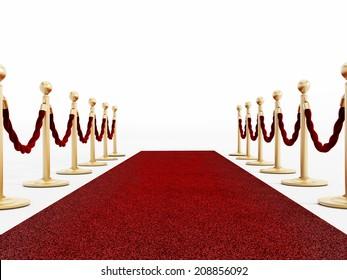 Red carpet and velvet ropes isolated on white
