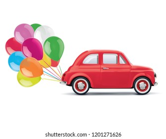 Red cartoon car with bunch of balloons isolated on white. Realistic 3d illustration