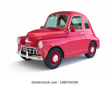 Red cartoon car on white background. 3D illustration
