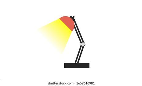 Red Cartoon flat style desk light icon silhouette