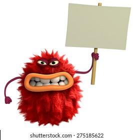 red cartoon hairy monster 3d