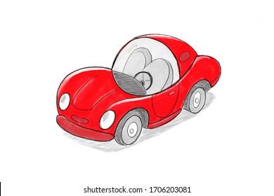 Red cartoon sport car sketch