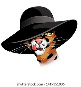 Red cat with a big black hat on her head