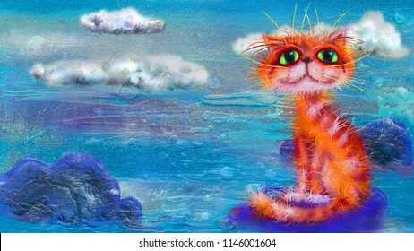 Red cat and blue landscape with the clouds, oil painting artwork