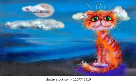 Red cat and blue landscape with the clouds. Oil painting artwork.