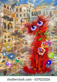 Red cat with the flowers at windy street