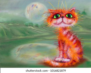Red cat on green nature background