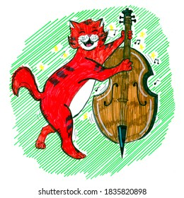 The red cat plays the double bass. The cat is a musician.