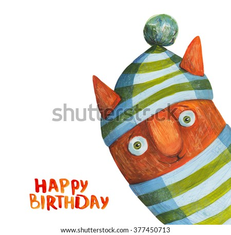 Red Cat In Striped Hat Happy Birthday Watercolor And Gouache Illustration Hand Drawing