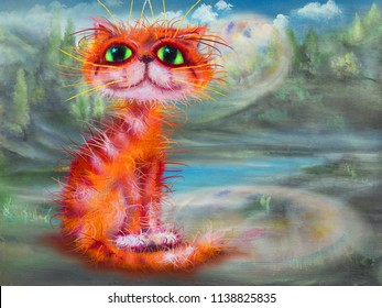 Red cat and summer landscape, oil painting artwork