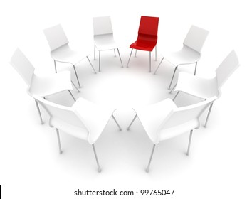 red chair in a circle of white chairs
