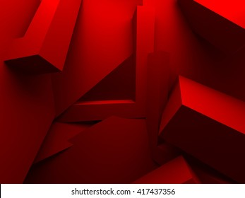 Red Chaotic Architecture Abstract Background. 3d Render Illustration