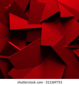 Red Chaotic Cubes Wall Background. 3d Render Illustration